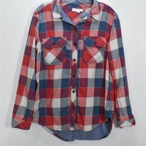 Treasure & Bond Plaid Flannel Boyfriend Shirt S